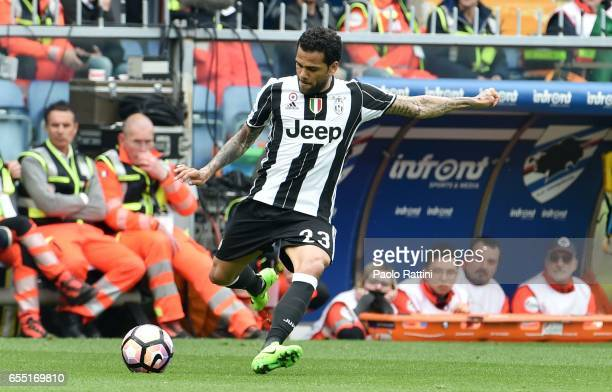 Dani Alves of Juventus in action during the Serie A match between UC Sampdoria and Juventus FC at Stadio Luigi Ferraris on March 19 2017 in Genoa...
