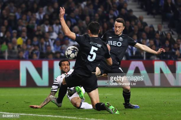 Dani Alves of Juventus scores the second goal to make the score 02 during the UEFA Champions League Round of 16 first leg match between FC Porto and...