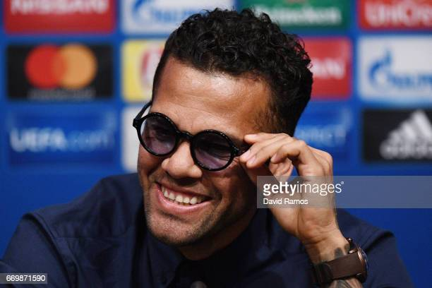Dani Alves of Juventus speaks to the media during the Juventus press conference at the Camp Nou on April 18 2017 in Barcelona Spain