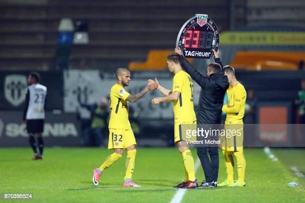 Dani Alves of Paris Saint Germain and Thomas Meunier of Paris Saint Germain during the Ligue 1 match between Angers SCO and Paris Saint Germain at...