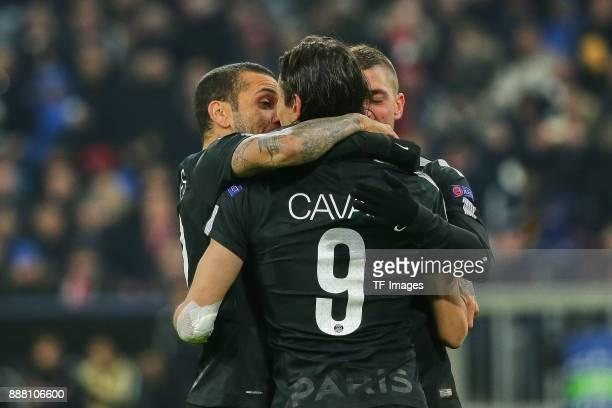 Dani Alves of Paris SaintGermain Edinson Cavani of Paris SaintGermain and Marco Verratti of Paris SaintGermain celebrate their team`s goal during the...
