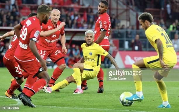 Dani Alves of Paris SaintGermain in action with Neymar Jr during the Ligue 1 match between Dijon FCO and Paris Saint Germain at Stade GastonGerard on...