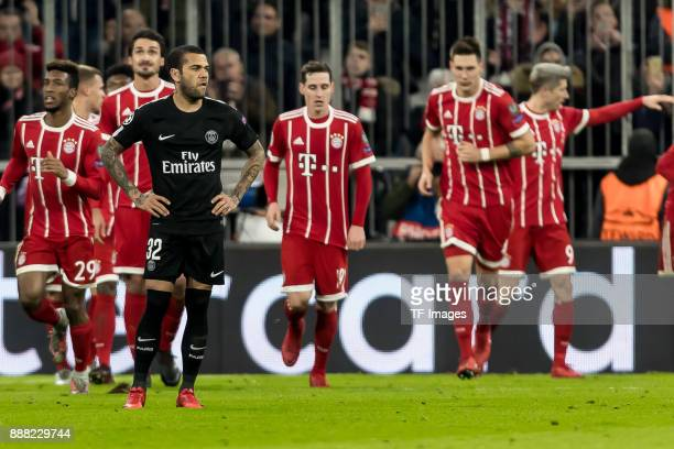 Dani Alves of Paris SaintGermain looks dejected during the UEFA Champions League group B match between Bayern Muenchen and Paris SaintGermain at...