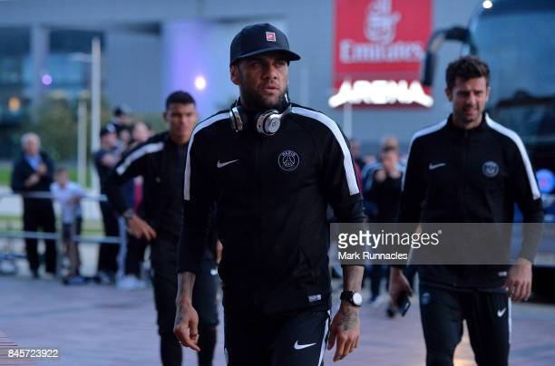 Dani Alves of PSG and team mates arrive prior to a Paris SaintGermain press conference ahead of the UEFA Champions League Group B match against...