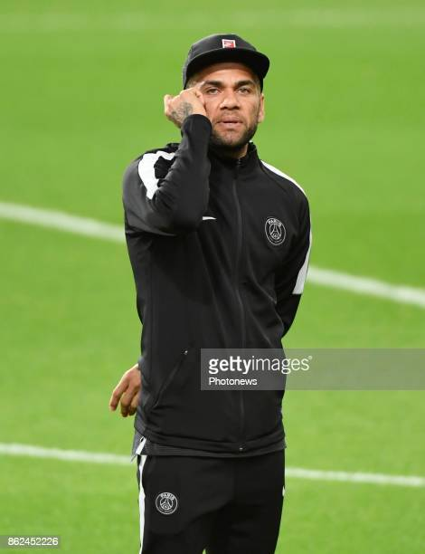 Dani Alves of PSG pictured during a walk on the pitch a day before UEFA Champion League match group B between RSC Anderlecht and Paris Saint Germain...