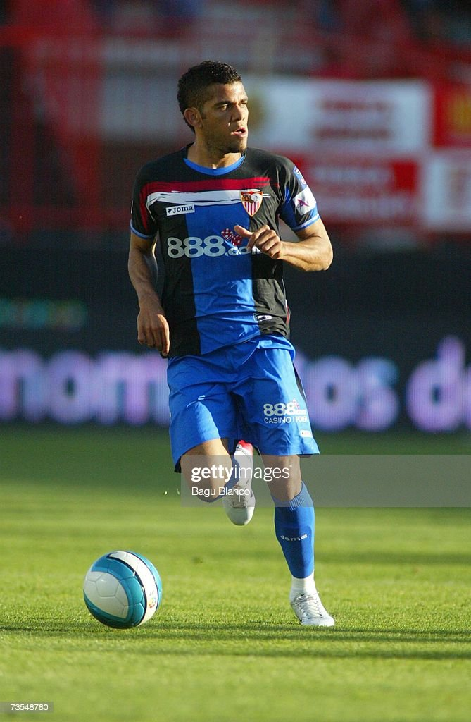 Dani Alves of Sevilla is seen in action during the match between Gimnastic de Tarragona and Sevilla of La Liga on March 11 2007 at the Nou Estadi...