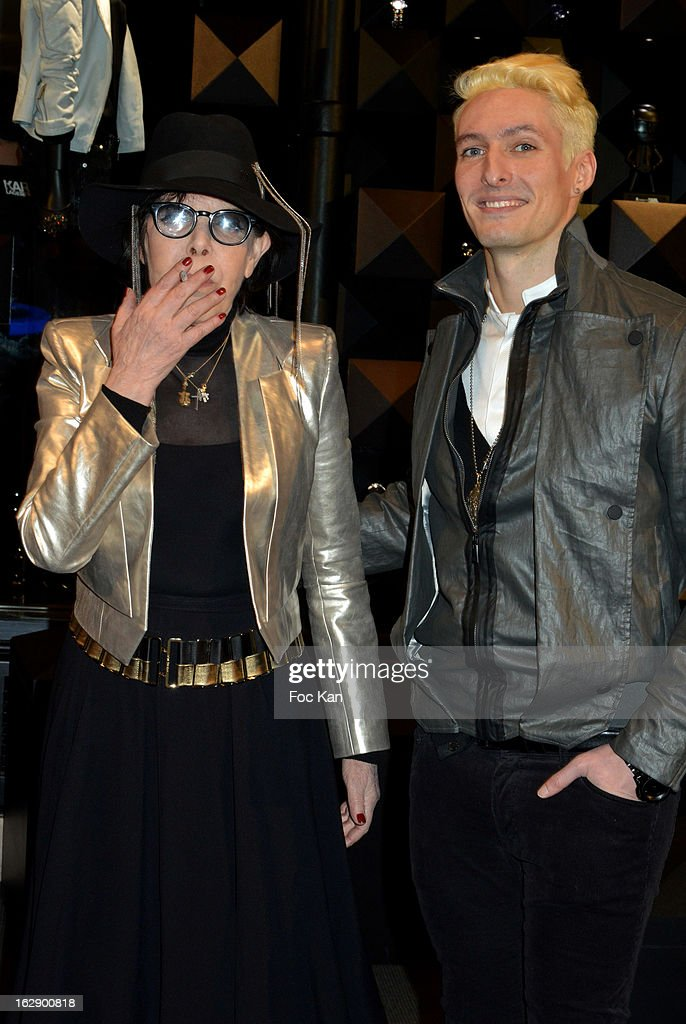 Dani (L) and Bruno Alexandre of band Neimon attend the opening of the Karl Lagerfeld concept store during Paris Fashion Week Fall/Winter 2013 at Karl Lagerfeld Concept Store Saint Germain on February 28, 2013 in Paris, France.