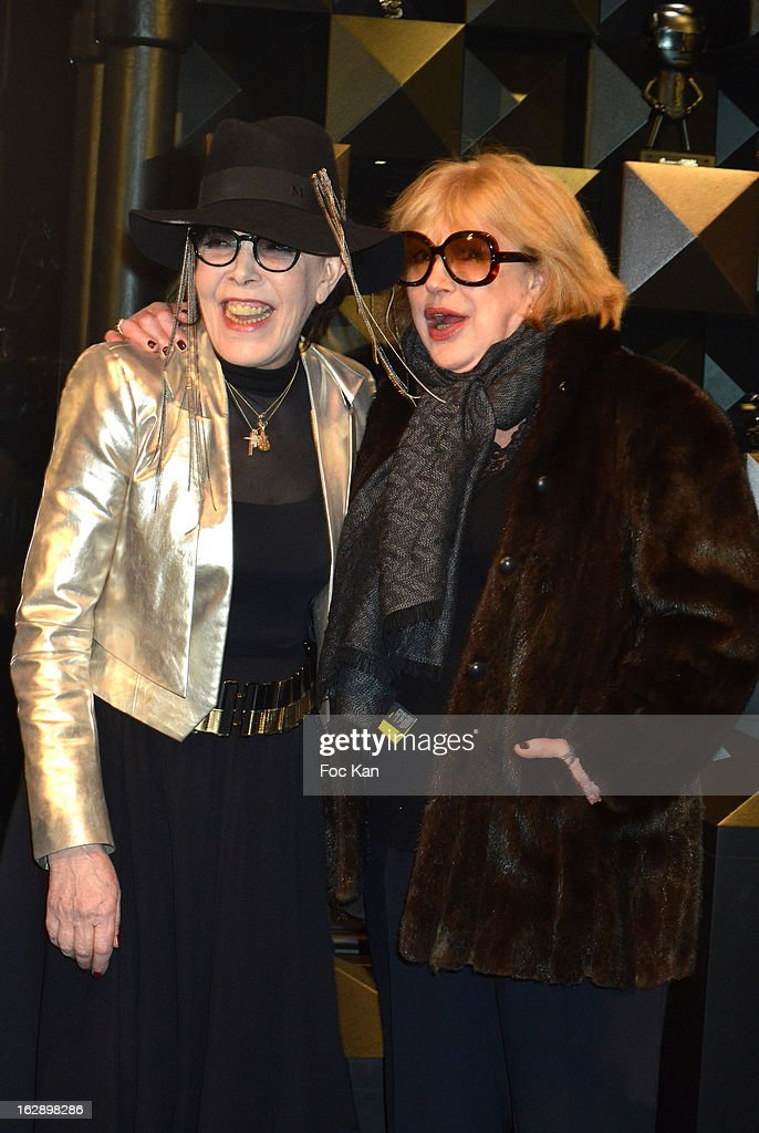 Dani and Marianne Faithful (R) attend the opening of the Karl Lagerfeld concept store during Paris Fashion Week Fall/Winter 2013 at Karl Lagerfeld Concept Store Saint Germain on February 28, 2013 in Paris, France.