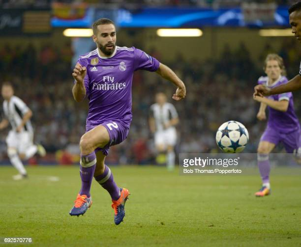 Dani Carvajal in action for Real Madrid during the UEFA Champions League Final between Juventus and Real Madrid at National Stadium of Wales on June...