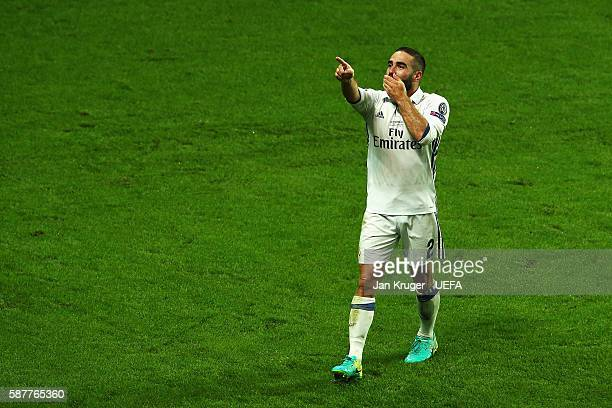Dani Carvajal of Real Madrid celebrates scoring his team's third goal during the UEFA Super Cup match between Real Madrid and Sevilla at Lerkendal...