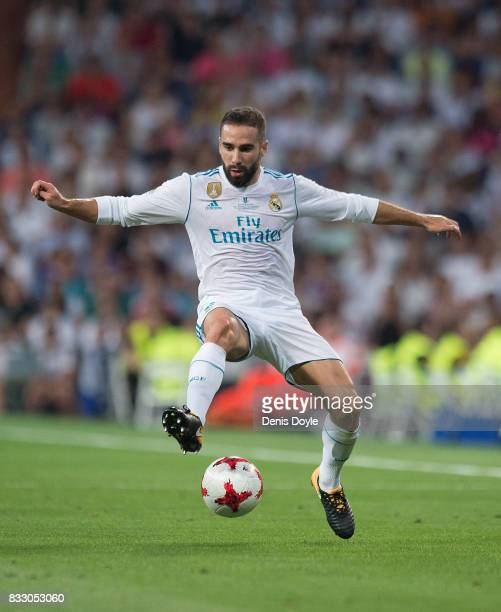 Dani Carvajal of Real Madrid CF in action during the Supercopa de Espana Final 2nd Leg match between Real Madrid and FC Barcelona at Estadio Santiago...