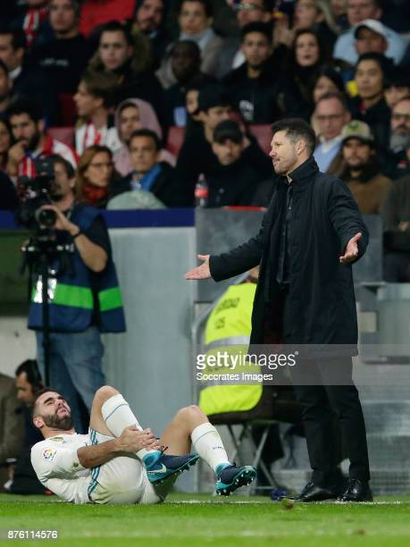 Dani Carvajal of Real Madrid coach Diego Simeone of Atletico Madrid during the Spanish Primera Division match between Atletico Madrid v Real Madrid...