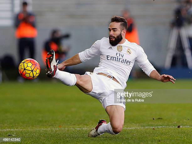 Dani Carvajal of Real Madrid controls the ball during the La Liga match between SD Eibar and Real Madrid at Ipurua Municipal Stadium on November 29...