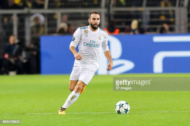 Dani Carvajal of Real Madrid controls the ball during the UEFA Champions League group H match between Borussia Dortmund and Real Madrid at Signal...