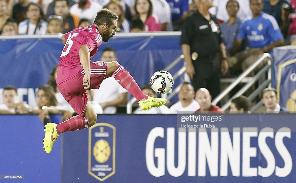 Dani Carvajal of Real Madrid during a Guinness International Champions Cup 2014 game at Cotton Bowl on July 29, 2014 in Dallas, Texas.