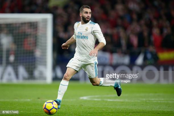 Dani Carvajal of Real Madrid during the Spanish Primera Division match between Atletico Madrid v Real Madrid at the Estadio Wanda Metropolitano on...