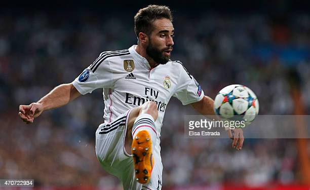 Dani Carvajal of Real Madrid in action during the UEFA Champions League Quarter Final second leg match between Real Madrid CF and Club Atletico de...