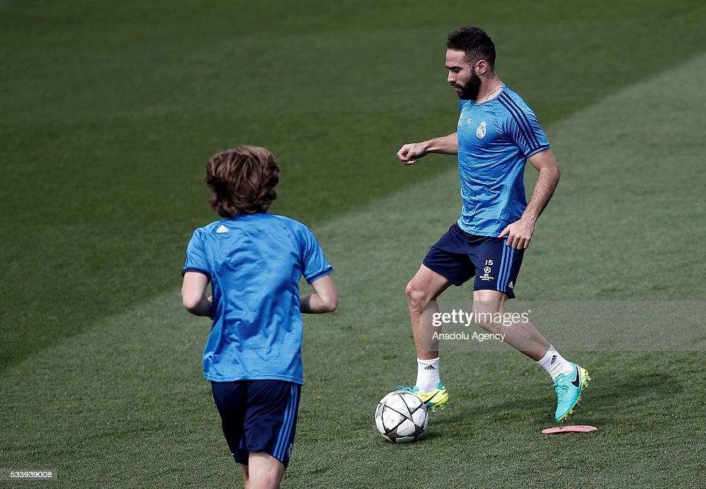 Dani Carvajal of Real Madrid performs during their team's training session at the Valdebebas's sports complex in Madrid, Spain on May 24, 2016. Real Madrid will face Atletico Madrid in the 2016 UEFA Champions League final at Guiseppe Meazza stadium in Milan, Italy on May 28, 2016.