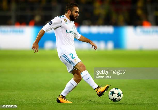 Dani Carvajal of Real Madrid runs with the ball during the UEFA Champions League group H match between Borussia Dortmund and Real Madrid at Signal...