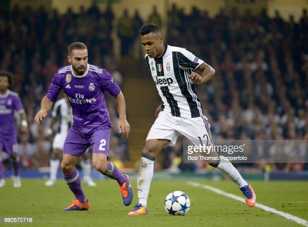 Dani Carvajal of Real Madrid watches Alex Sandro of Juventus during the UEFA Champions League Final between Juventus and Real Madrid at National...