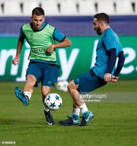 Dani Ceballos and Dani Carvajal of Real Madrid warm up during the UEFA Champions League group H match between APOEL Nikosia and Real Madrid at GSP...