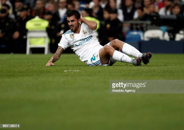 Dani Ceballos of Real Madrid gets injured for a while during a La Liga match between Real Madrid and Eibar at Santiago Bernabeu Stadium on October 22...
