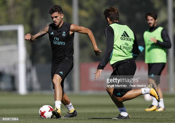 Dani Ceballos of Real Madrid in action during a training session at Valdebebas training ground on August 12 2017 in Madrid Spain