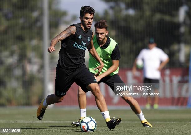 Dani Ceballos of Real Madrid in action during a training session at Valdebebas training ground on August 19 2017 in Madrid Spain