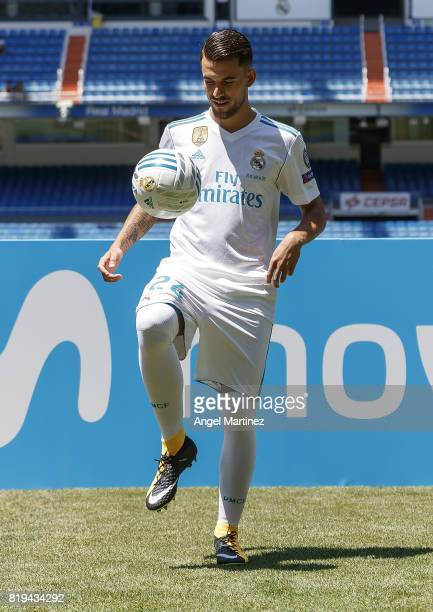 Dani Ceballos of Real Madrid plays with the ball during his official presentation at Estadio Santiago Bernabeu on July 20 2017 in Madrid Spain