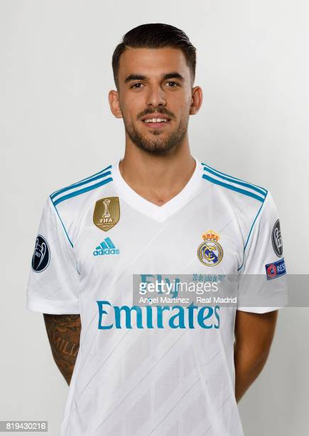 Dani Ceballos of Real Madrid poses during his official presentation at Estadio Santiago Bernabeu on July 20 2017 in Madrid Spain