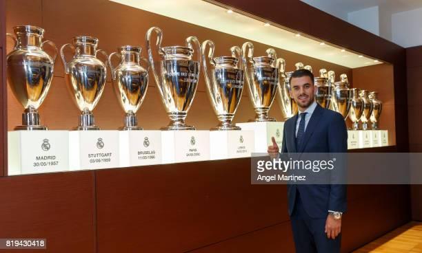 Dani Ceballos of Real Madrid poses during his official presentation at Estadio Santiago Bernabeu on July 20 2017 in Madrid Spain