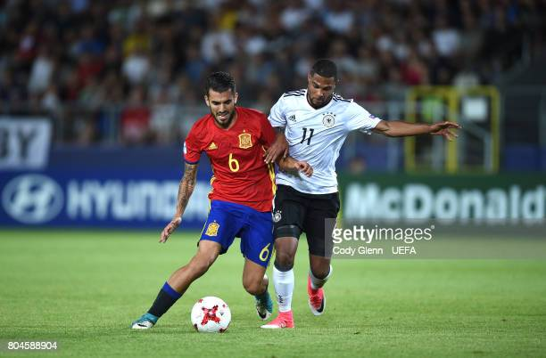 Dani Ceballos of Spain and Serge Gnabry of Germany during their UEFA European Under21 Championship 2017 final match on June 30 2017 in Krakow Poland
