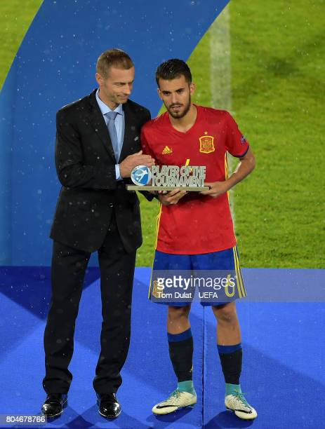 Dani Ceballos of Spain is presented with the Player of The Tournament award during the UEFA European Under21 Championship Final match between Germany...