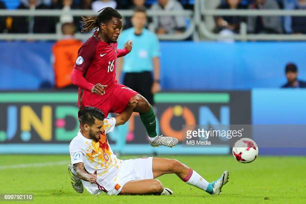 Dani Ceballos Renato Sanches during the UEFA European Under21 match between Portugal and Spain on June 20 2017 in Gdynia Poland