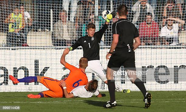 Dani de Wit of the Netherlands scores the first goal during the international friendly match between U19 Germany and U19 Netherlands on September 5...