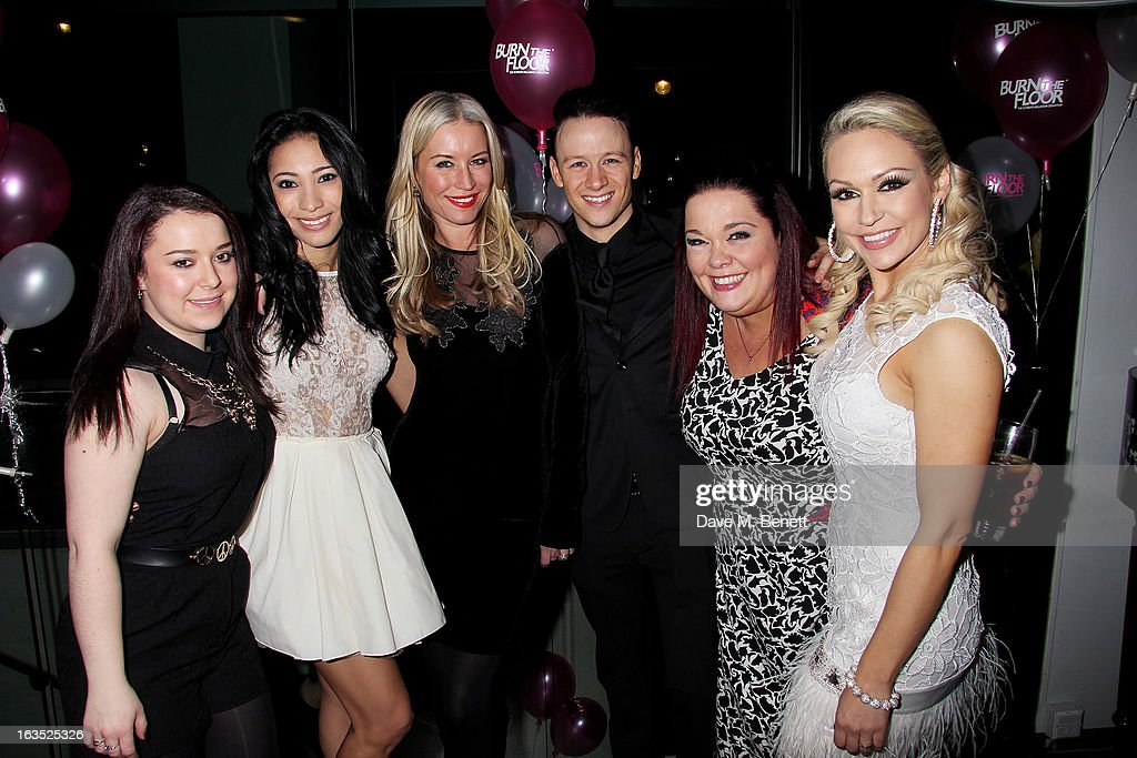 Dani Harmer, Karen Hauer, Denise van Outen, Kevin Clifton, Lisa Riley and Kristina Rihanoff attend an after party celebrating the press night performance of 'Burn The Floor' at the Trafalgar Hotel on March 11, 2013 in London, England.