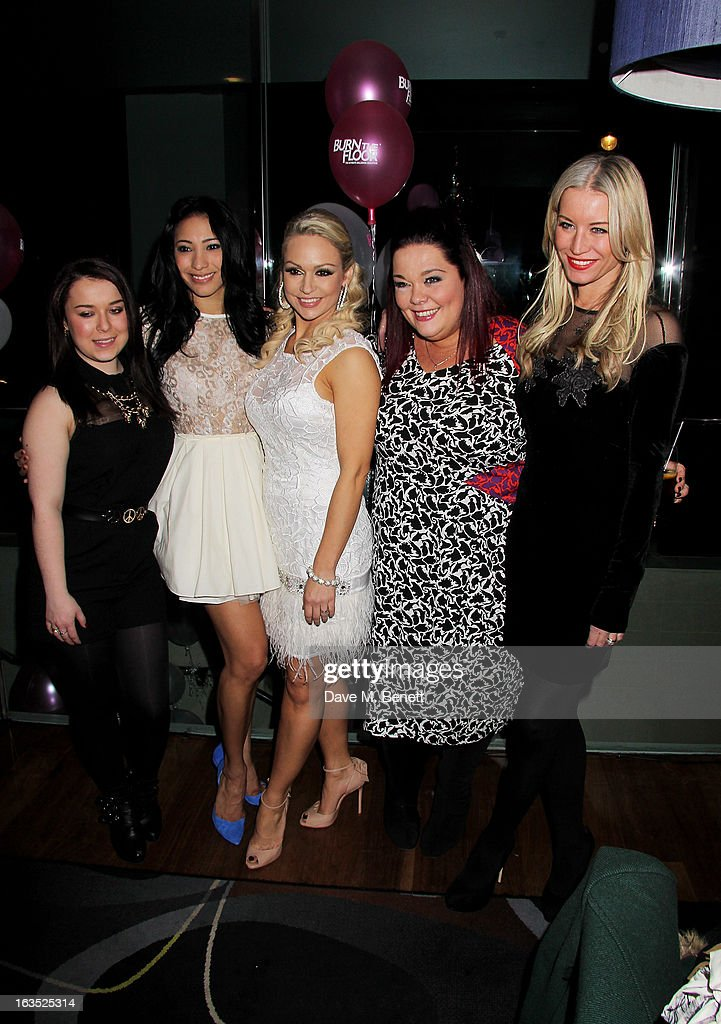 Dani Harmer, Karen Hauer, Kristina Rihanoff, Lisa Riley and Denise van Outen attend an after party celebrating the press night performance of 'Burn The Floor' at the Trafalgar Hotel on March 11, 2013 in London, England.