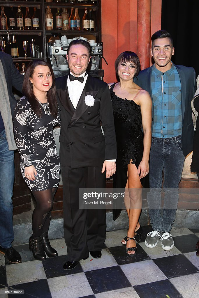 Dani Harmer, Vincent Simone, Flavia Cacace and <a gi-track='captionPersonalityLinkClicked' href=/galleries/search?phrase=Louis+Smith+-+Gymnast&family=editorial&specificpeople=798756 ng-click='$event.stopPropagation()'>Louis Smith</a> attend opening night of 'Midnight Tango' at the Phoenix Theatre on February 4, 2013 in London England.
