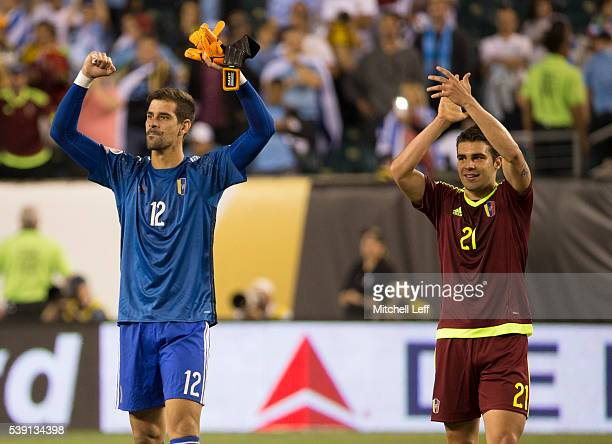 Dani Hernandez and Alexander Gonzalez of Venezuela celebrate after the match against Uruguay during the 2016 Copa America Centenario Group C match at...