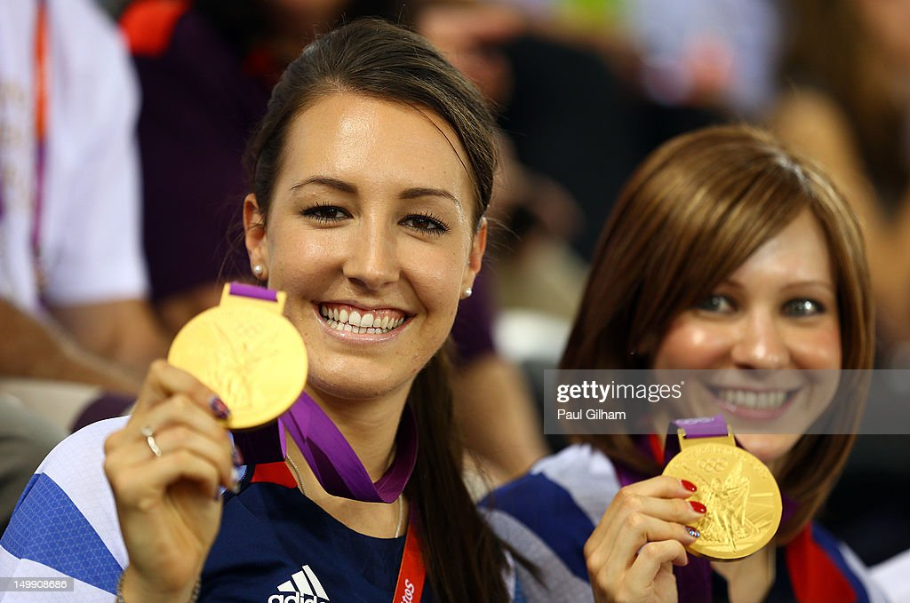 <a gi-track='captionPersonalityLinkClicked' href=/galleries/search?phrase=Dani+King+-+Cyclist&family=editorial&specificpeople=7505449 ng-click='$event.stopPropagation()'>Dani King</a> (L) and <a gi-track='captionPersonalityLinkClicked' href=/galleries/search?phrase=Joanna+Rowsell&family=editorial&specificpeople=5054365 ng-click='$event.stopPropagation()'>Joanna Rowsell</a> of Great Britain pose with their medals as they visit to support team-mate Laura Trott of Great Britain compete in the Women's Omnium Track Cycling on Day 10 of the London 2012 Olympic Games at Velodrome on August 6, 2012 in London, England.