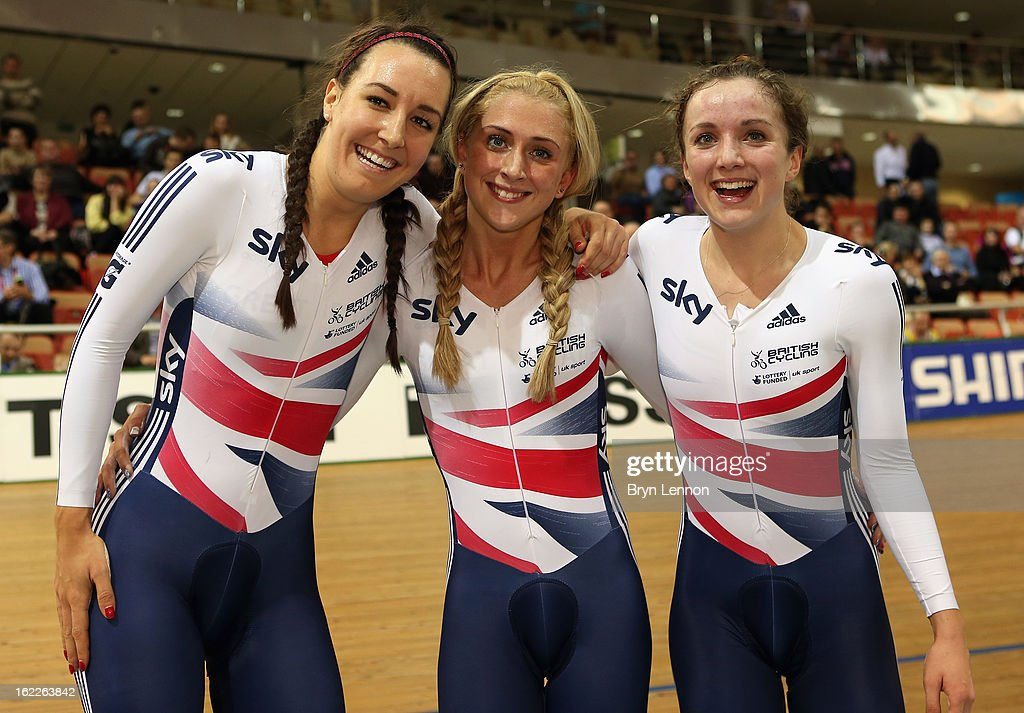 <a gi-track='captionPersonalityLinkClicked' href=/galleries/search?phrase=Dani+King+-+Cyclist&family=editorial&specificpeople=7505449 ng-click='$event.stopPropagation()'>Dani King</a>, <a gi-track='captionPersonalityLinkClicked' href=/galleries/search?phrase=Laura+Trott+-+Cyclist&family=editorial&specificpeople=7205074 ng-click='$event.stopPropagation()'>Laura Trott</a> and Elinor Barker of Great Britain celebrate winning the Women's Team Pursuit during day two of the UCI Track World Championships at the Minsk Arena on February 21, 2013 in Minsk, Belarus.