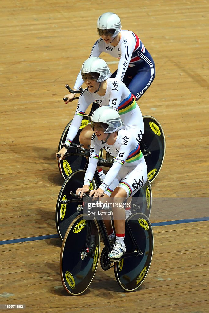 Dani King, Laura Trott and Joanna Rowsell celebrate after setting a new world record time of 4:19.604 during the Women's Team Pursuit Finals on day one of the UCI Track Cycling World Cup at Manchester Velodrome on November 1, 2013 in Manchester, England.