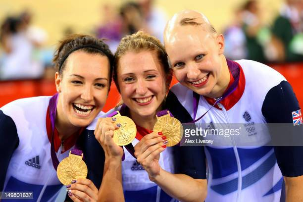 Dani King Laura Trott and Joanna Rowsell of Great Britain pose with their Gold medal during the medal ceremony for the Women's Team Pursuit Track...