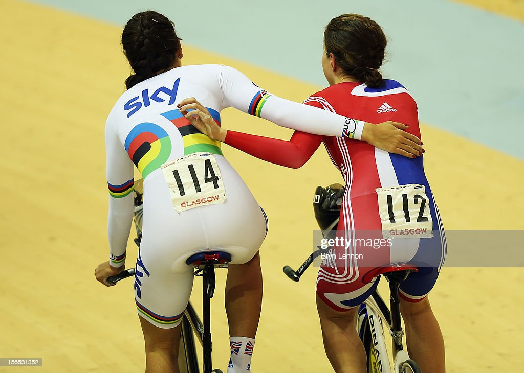 Dani King (l) of Great Britain and team mate and Elinor Barker ride along the track apron after winning the Women's Team Pursuit final during day one of the UCI Track Cycling World Cup at the Sir Chris Hoy Velodrome on November 16, 2012 in Glasgow, Scotland.