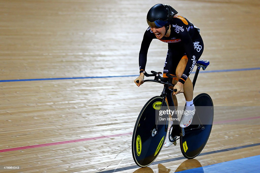 <a gi-track='captionPersonalityLinkClicked' href=/galleries/search?phrase=Dani+King+-+Cyclist&family=editorial&specificpeople=7505449 ng-click='$event.stopPropagation()'>Dani King</a> of Great Britain and the Wiggle Honda competes in the UCI Omnium - Time Trial during Revolution 5 at the Velodrome in the Lee Valley Velopark on March 15, 2014 in London, England.