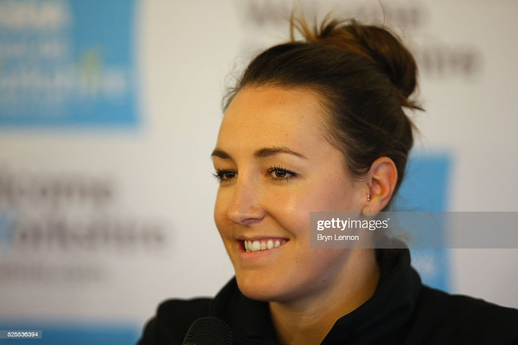 <a gi-track='captionPersonalityLinkClicked' href=/galleries/search?phrase=Dani+King+-+Cyclist&family=editorial&specificpeople=7505449 ng-click='$event.stopPropagation()'>Dani King</a> of Great Britain and Wiggle Honda talks to the media during a press conference prior to the start of the Tour de Yorkshire 2016 at York Air Museum on April 28, 2016 in York, England.