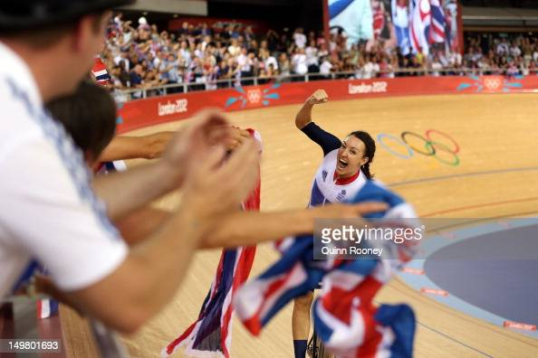 Dani King of Great Britain celebrates winning the Gold medal and breaking the World Record in the Women's Team Pursuit Track Cycling Finals on Day 8...