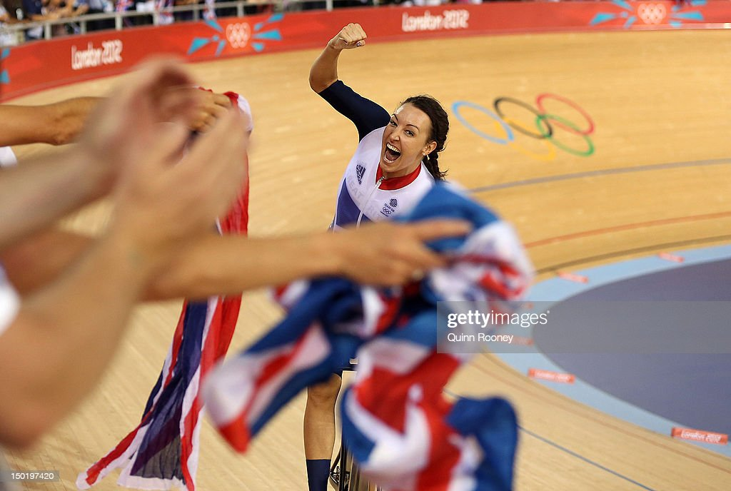 <a gi-track='captionPersonalityLinkClicked' href=/galleries/search?phrase=Dani+King+-+Cyclist&family=editorial&specificpeople=7505449 ng-click='$event.stopPropagation()'>Dani King</a> of Great Britain celebrates winning the Gold medal and breaking the World Record in the Women's Team Pursuit Track Cycling Finals on Day 8 of the London 2012 Olympic Games at Velodrome on August 4, 2012 in London, England.