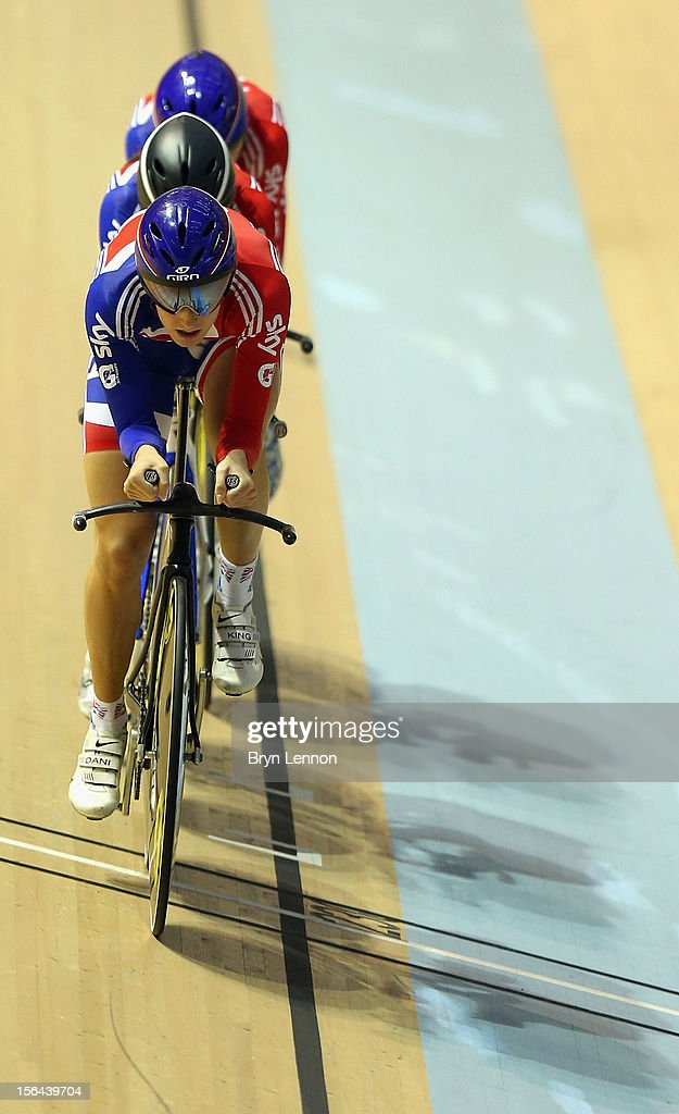 <a gi-track='captionPersonalityLinkClicked' href=/galleries/search?phrase=Dani+King+-+Cyclist&family=editorial&specificpeople=7505449 ng-click='$event.stopPropagation()'>Dani King</a> of Great Britain leads the Women's Pursuit Team during training for the UCI Track Cycling World Cup at the Sir Chris Hoy Velodrome on November 15, 2012 in Glasgow, Scotland.