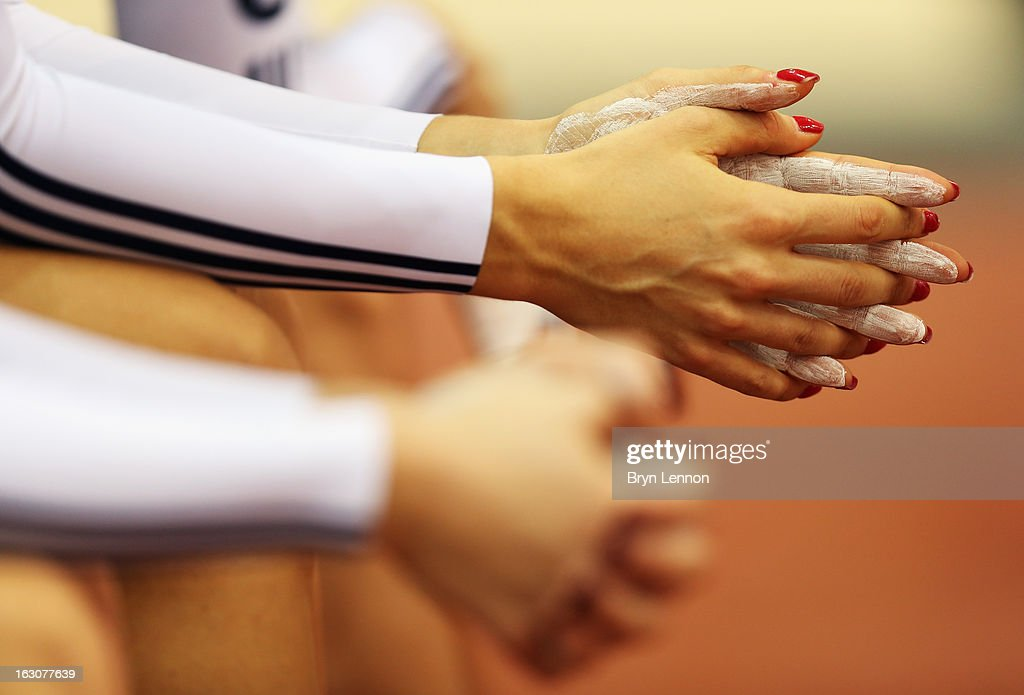 <a gi-track='captionPersonalityLinkClicked' href=/galleries/search?phrase=Dani+King+-+Cyclist&family=editorial&specificpeople=7505449 ng-click='$event.stopPropagation()'>Dani King</a> of Great Britain prepares to qualify for the Women's Team Pursuit during day two of the UCI Track World Championships at the Minsk Arena on February 21, 2013 in Minsk, Belarus.
